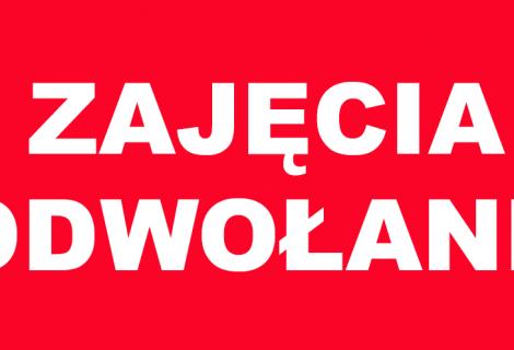 Odwołane zajęcia z p. Iwanciw